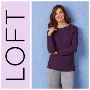 ANN TAYLOR LOFT Plum Basketweave Sweater